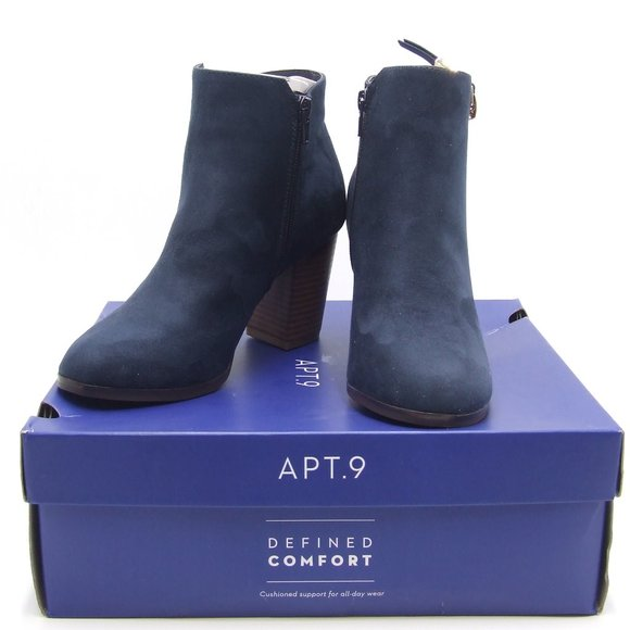 Apt 9 Womens Timezone Navy Ankle Boots